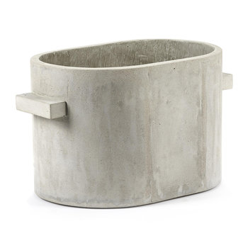 Concrete Oval Plant Pot - Grey - Small