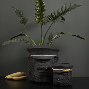 Terracotta Monkey Face Plant Pot - Black