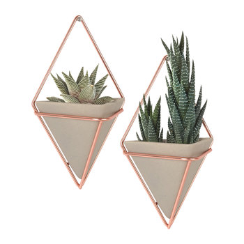 Trigg Small Copper Wall Planters - Set of 2