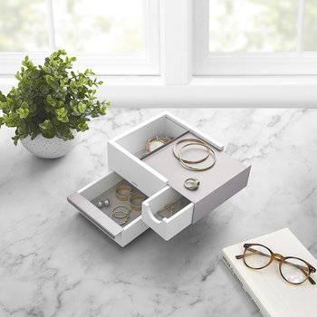 Mini Stowit Jewelry Box - White/Nickel