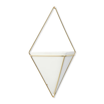 Trigg Wall Planter - White/Brass