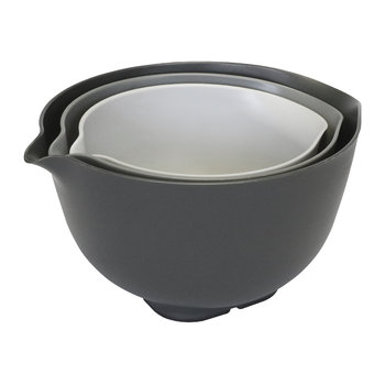 Non-Slip Mixing Bowls with Lids - Set of 3 - Gray
