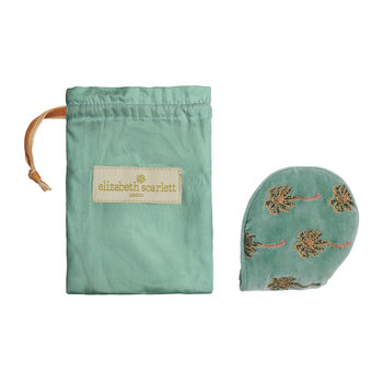African Palmier Velvet Eye Mask with Drawstring Bag - Khaki