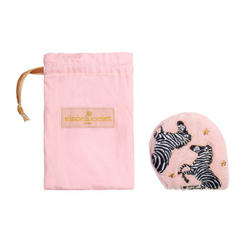 Zebra Velvet Eye Mask with Drawstring Bag - Rosewater
