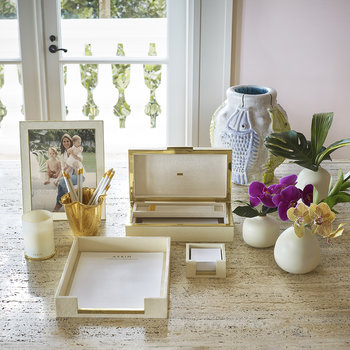 Shagreen Memo Paper Holder - Cream