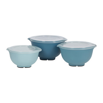 Non-Slip Mixing Bowls with Lids - Set of 3 - Blue