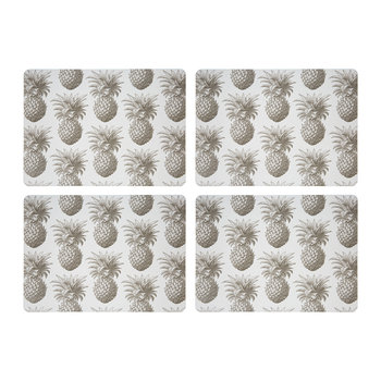 Pineapple Placemats - Grey - Set of 4