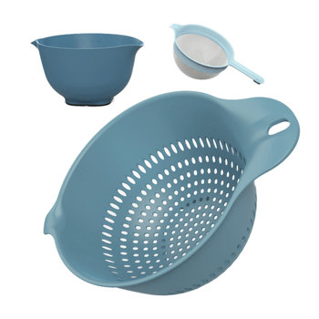 Mixing Bowl, Colander & Sieve Set - Blue