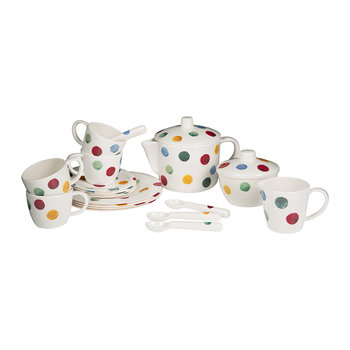 Melamine Tea Set in Carry Case - Polka Dots
