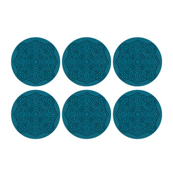 Round Urban 01 Coaster - Set of 6 - Teal