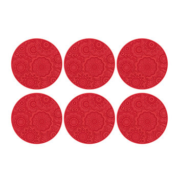 Round Urban 03 Coaster - Set of 6 - Lava Red