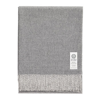 Emery Baby Alpaca Wool Throw - 130x200cm - Light Gray/White