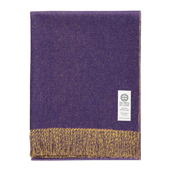 Emery Baby Alpaca Wool Throw - 130x200cm - Purple/Goldenrod
