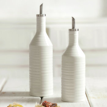White Porcelain Oil & Vinegar Drizzler Set