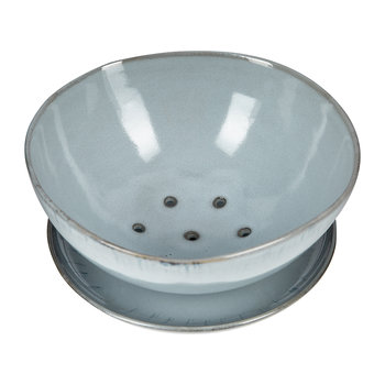 Light Blue Ceramic Colander with Plate