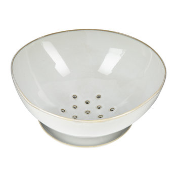 Light Grey Ceramic Colander with Plate