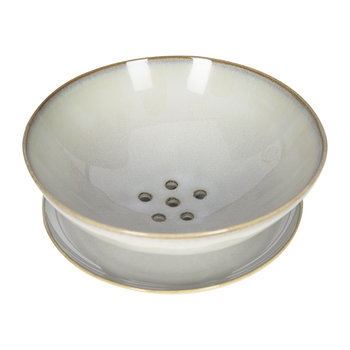 Light Gray Ceramic Colander with Plate