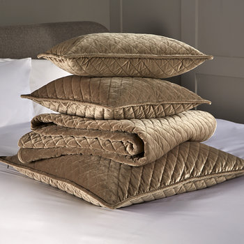 Edmonton Velvet Quilted Throw - Taupe
