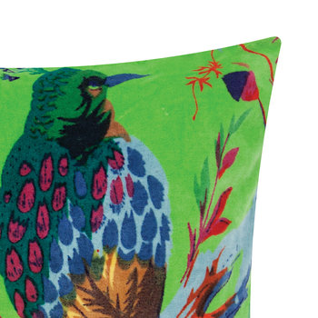 Bird of Paradise Velvet Cushion Cover - 45x45cm - Green