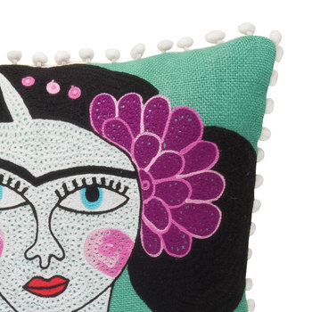 Frida Black Cat Embroidered Cushion Cover - 45x45cm
