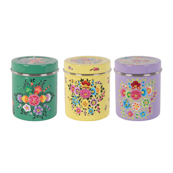 Hand Painted Floral Stainless Steel Canisters - Set of 3