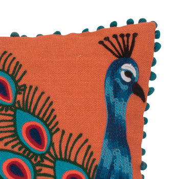 Peacock Embroidered Pom Pom Cushion Cover - Orange - 45x45cm