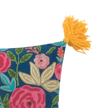 Roses Embroidered Cushion with Tassels - 45x45cm - Mustard