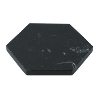 Hexagonal Marble Coasters - Set of 2 - Black