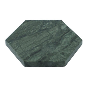 Hexagonal Marble Coasters - Set of 2 - Green