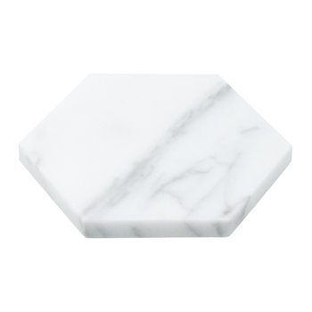 Hexagonal Marble Coasters - Set of 2 - White