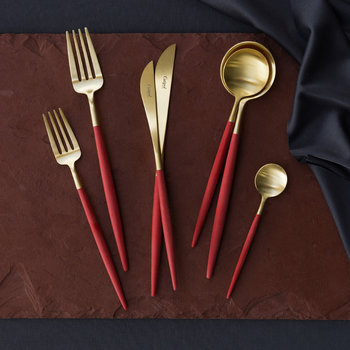 Goa Flatware Set - 24 Piece - Red/Gold