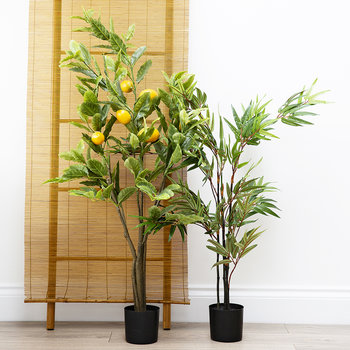 Potted Bamboo Tree with Leaves