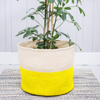 Alizeti Yellow Colour Block Hand Woven Basket - XL