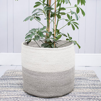 Itale Grey Colour Block Hand Woven Basket - XL