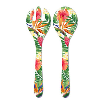 Exotic Flowers Salad Servers