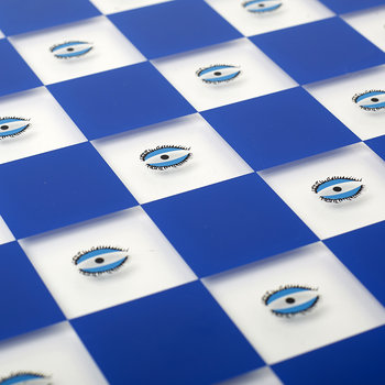 Chess Board - Blue with Evil Eye Print