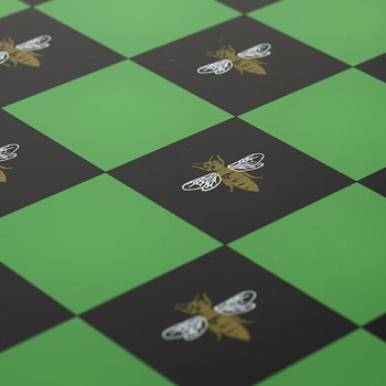 Chess Board - Green with Gold Bee Print
