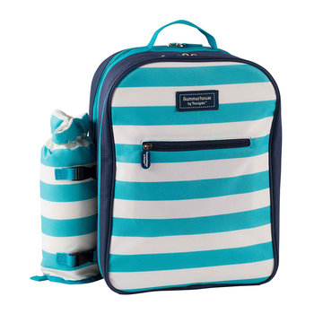Coast Four Person Picnic Backpack - Aqua/White