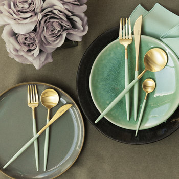 Goa Dessert Fork - Gold/Mint Green