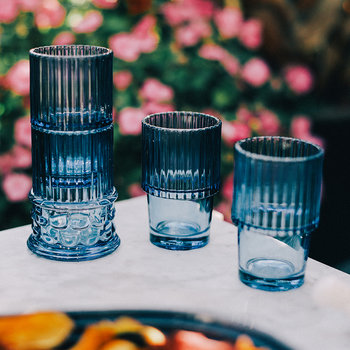 Verres Empilables Hestia - Lot de 4 - Bleu