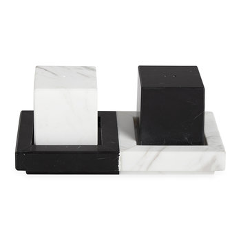 Canaan Salt and Pepper Shakers - White/Black Marble