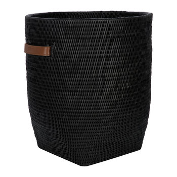 Laundry Basket with Leather Handles - Black