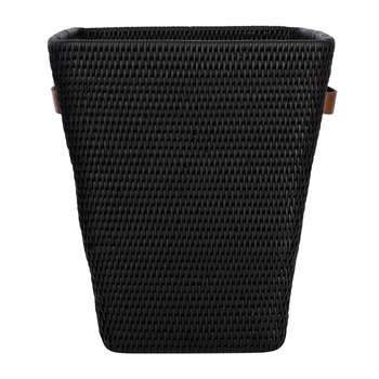 Square Waste Bin with Leather Handles - Black