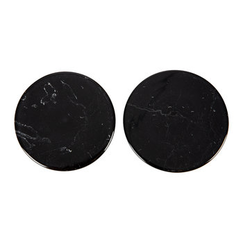 Round Marble Coasters - Set of 2 - Black