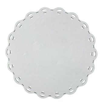 Scalloped Edge Marble Platter - Grey