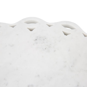 Scalloped Edge Marble Platter - White