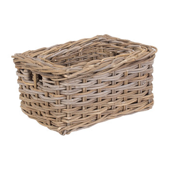 Rectangular Gray Rattan Storage Basket - Set of 3