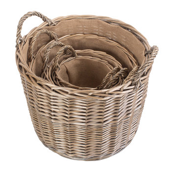 Round Lined Wicker Log Basket Set 4 - Set of 4