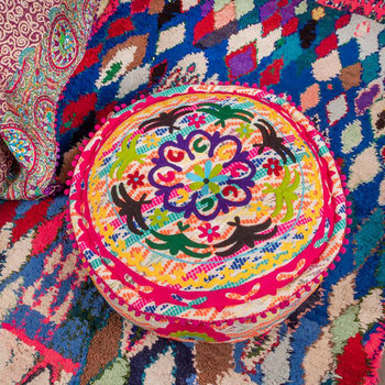 Candy Colours Embroidered Pouffe
