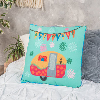 Cotton Caravan Embroidered Cushion - 42x42cm